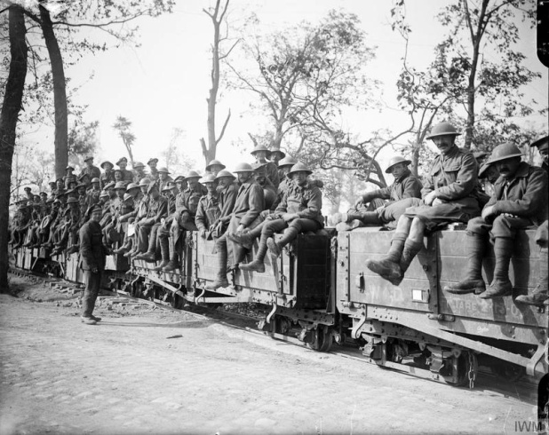 These troops from the British 3rd Division, photographed on 25 September 1917, are moving up to take part in the Battle of Polygon Wood.